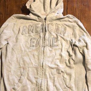Men's American eagle distressed zip up hoodie